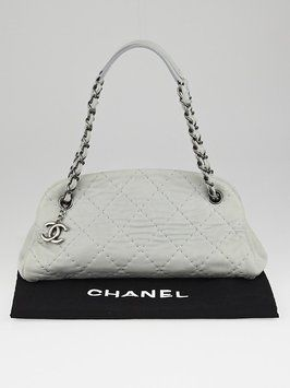 1e1636a7ad5d Chanel Quilted Iridescent Leather Just Mademoiselle Bowler Grey Tote Bag.  Get one of the hottest