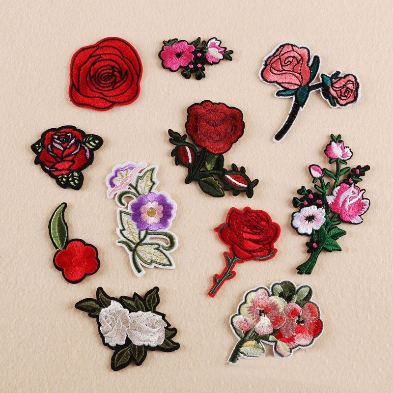 11PCS Embroidered Sew Iron on Applique Patch Rose Flower Badge Bag Dress Crafts