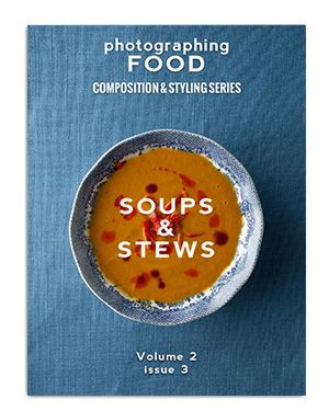 Soups and stews come in a wide variety of flavors, colors and textures. In this issue you will learn how bowl selection, garnish placement, and camera angle all have a great impact on the final image. I will show you step-by-step how the soups are styled and give the reasoning for my prop and garnish choices. Whether it is a brothy chicken and rice or a hearty meat and bean chili, you will learn how to tackle a soup or stew of any type!  This 35 page full color PDF is only $5
