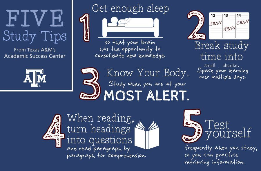 5 study tips from the Texas AM Academic Success Center for all of