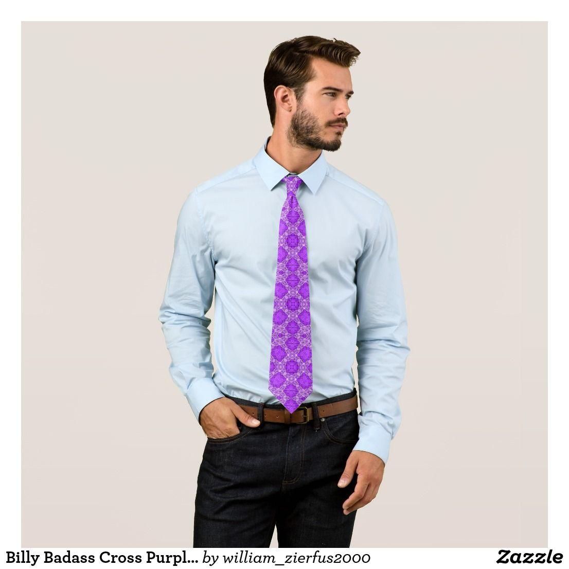 Billy Badass Cross Purple Geo Woven Pattern Tie by Willy Wear.