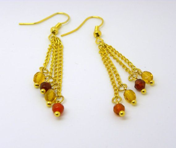 Handmade Red Agate Swarovski Crystal Gold  Plated by GoldenFantasy, $7.99