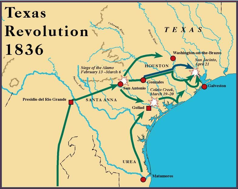 Texas Revolution GENEALOGY Maps Pinterest Texas Revolution - Battle of san jacinto map us