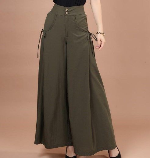 2cb8a402702f4 Office Ladies Summer Culottes Wide Leg Pants Women Skirt Palazzo Pants  Women Plus Size Capris High Waist Loose Flared Trousers