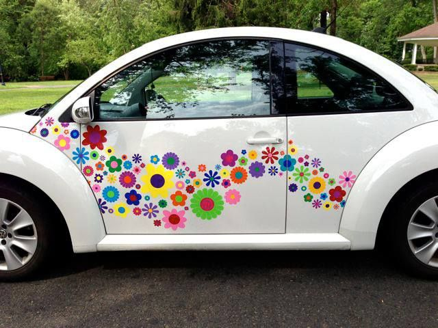 Flowery Makeover Car Stickers Hippy Motors Car Stickers Vinyl - How to make vinyl decals for cars