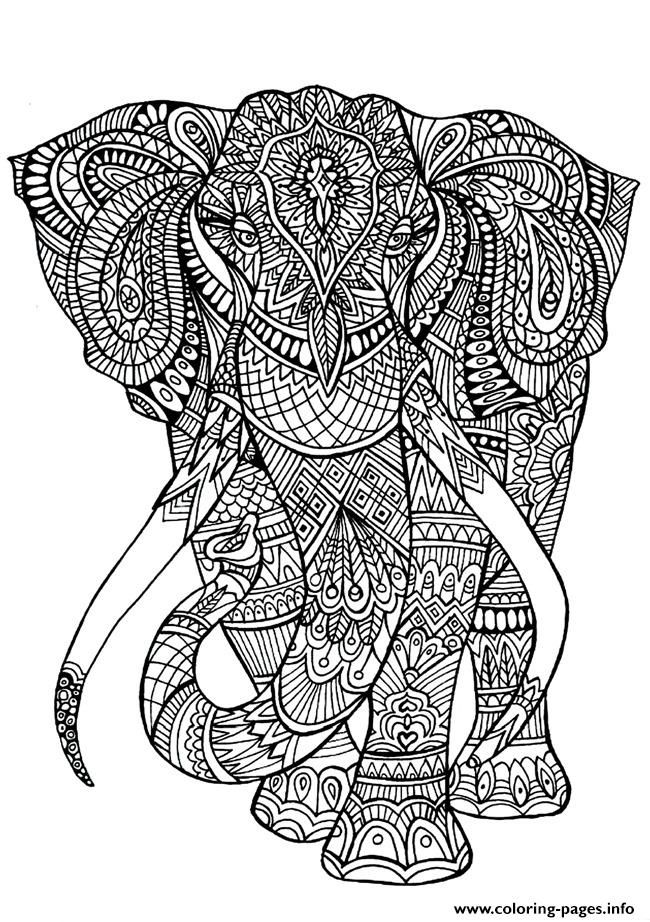 Print Adult Coloring Pages Elephant