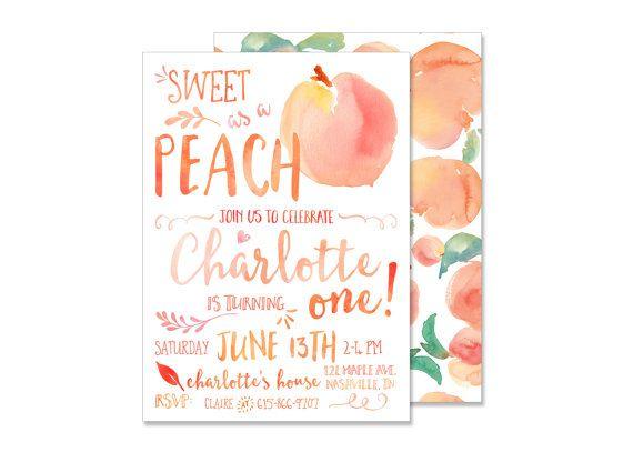 Sweet as a Peach Birthday Invitation DIGITAL FILE Peach Invite - fresh invitation for birthday party by email