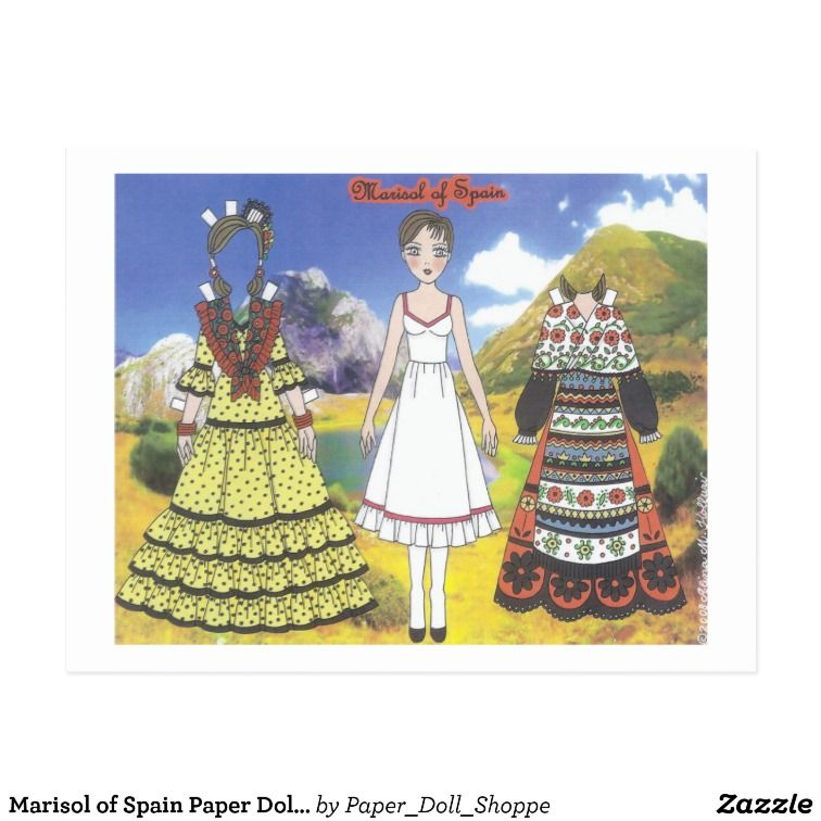 Marisol of Spain Paper Doll Postcard