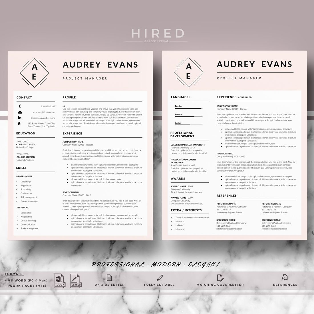 Professional Resume Cv Templates For Word Modern Creative