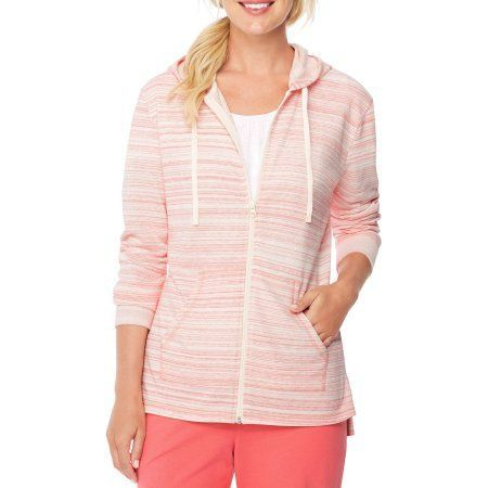Hanes Women's Rainbow French Terry Zip Hood, Size: Small, Pink