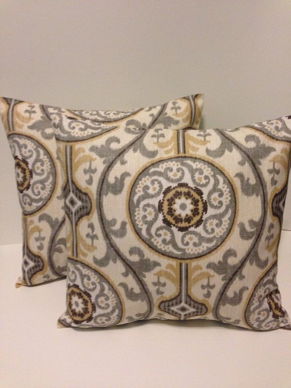 set of 2 pillow covers brown ivory grey tan decorative throw pillows accent pillows pillow. Black Bedroom Furniture Sets. Home Design Ideas