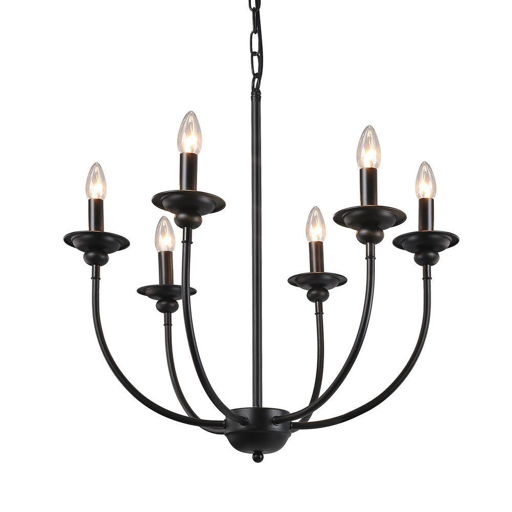 The 6 Light Black Candle Chandelier Features Great Looking