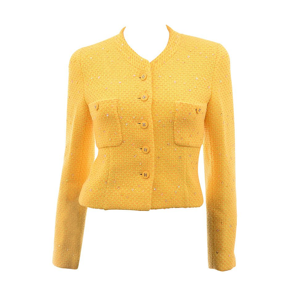 a34ce1c2225 Chanel Yellow Boucle Short Jacket Fr 38 US 6