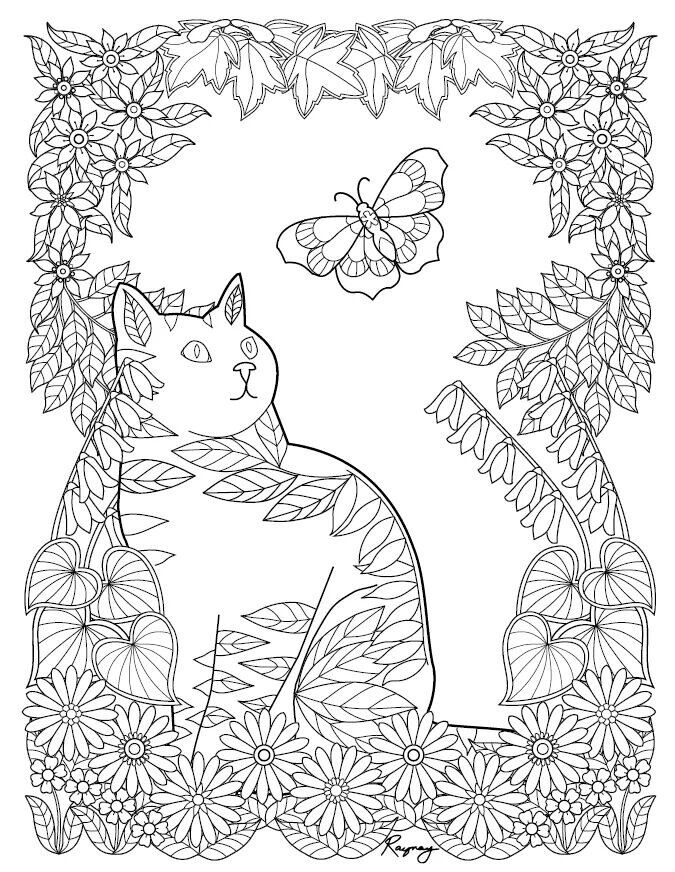 Cat coloring page | Cats + Dogs Coloring Pages for Adults ...