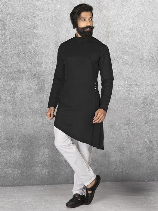 Terry Rayon Black Kurta Suit Mens Kurta Suits Mens Kurta Designs