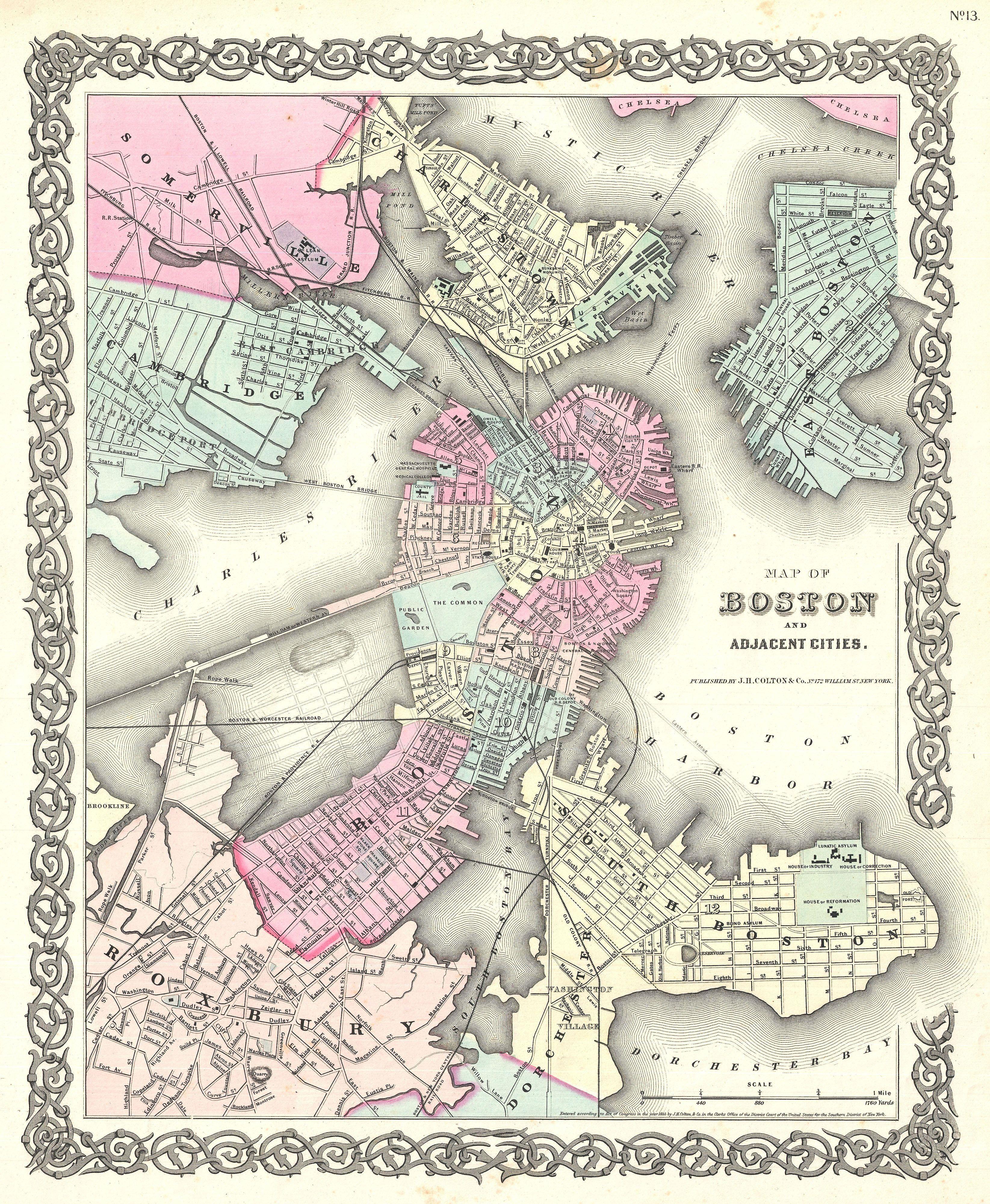Colton Map Boston Massachusetts Antique Maps Ss - Antique boston map