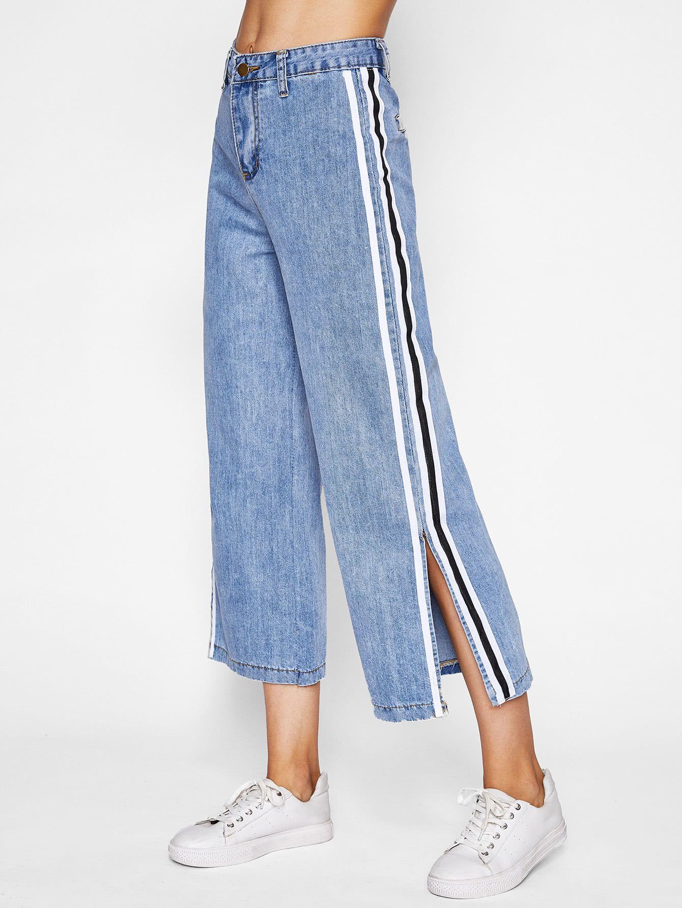 Vaqueros Anchos Contraste De Lado De Rayas Ropa De Moda Jeans De Moda Ropa