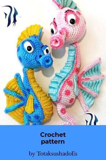 Seahorse PDF pattern. Amigurumi crochet pattern.