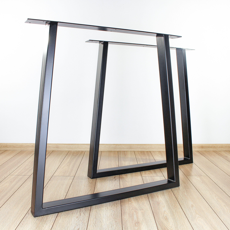 Metal Table Legs Trapezoid Steel Legs Set Of 2 Trapezoid Etsy In 2021 Metal Table Legs Dining Table Legs Metal Table