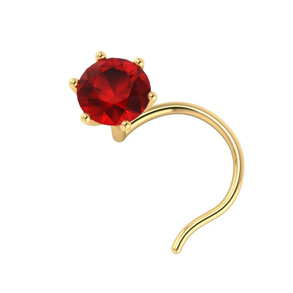 14k Gold 3.5mm Pink Sapphire Nose Lip Labret Monroe Piercing Ring Screw Stud Pin