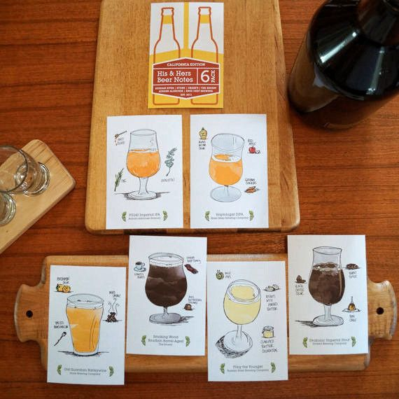 6-Pack of California Craft Beer Illustration Post Cards from BeerLoved