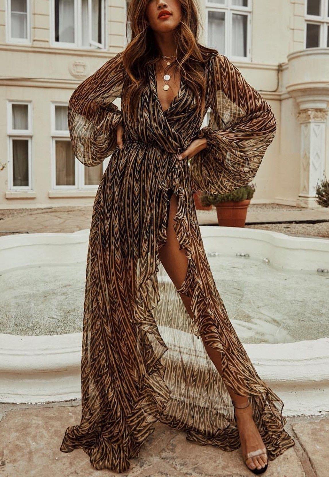 Elegant and minimalist boho style inspiration. Long brown dress