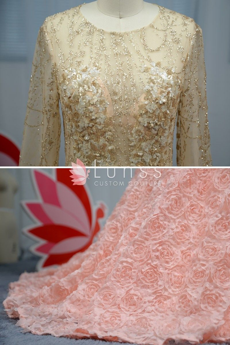 Dazzling Gold Sequin Mermaid 3D Pink Rosette Prom Dress with ...