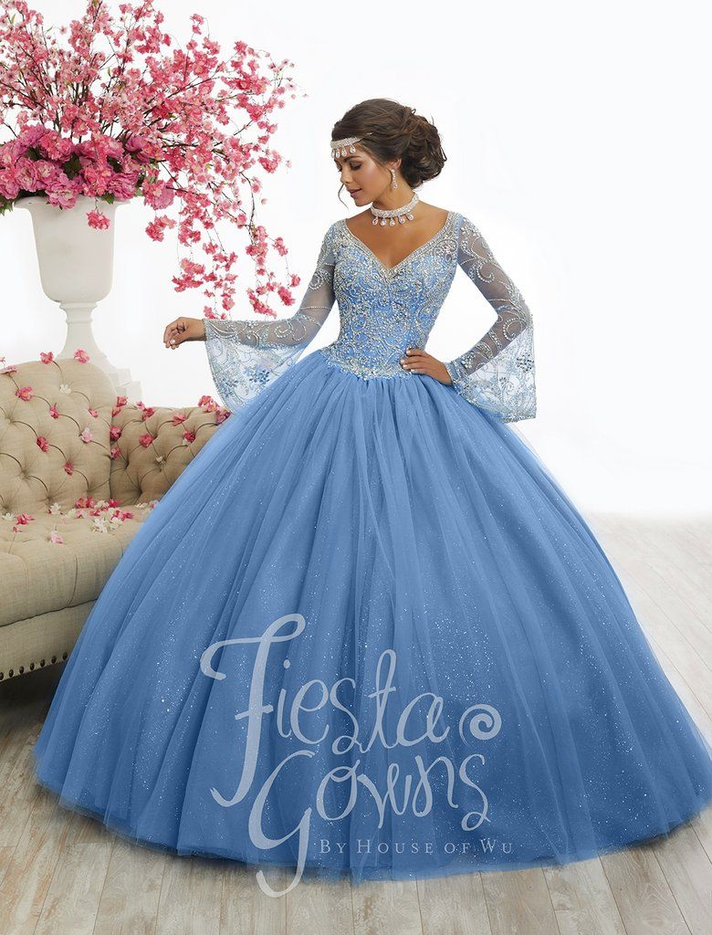 b88323c3290 Beaded Bell Sleeve Quinceanera Dress by Fiesta Gowns 56346-House of Wu  Fiesta Gowns-ABC Fashion