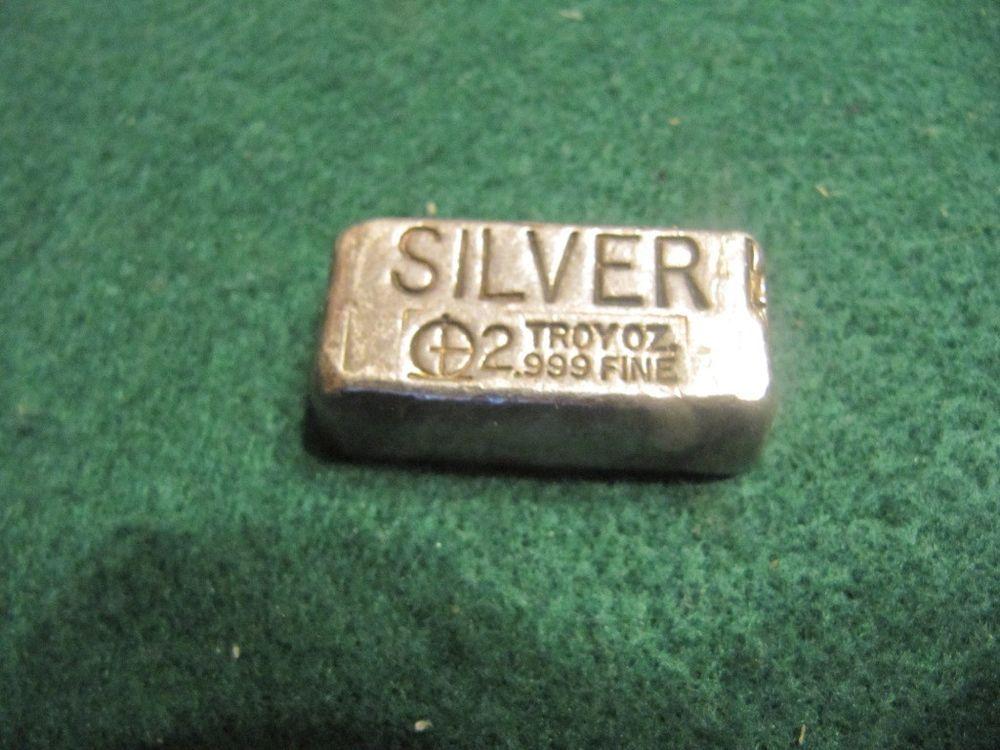 Rare Vintage 2 Troy Oz 999 Fine Target Mark Poured Silver Bar Silver Bars Silver Fine Silver