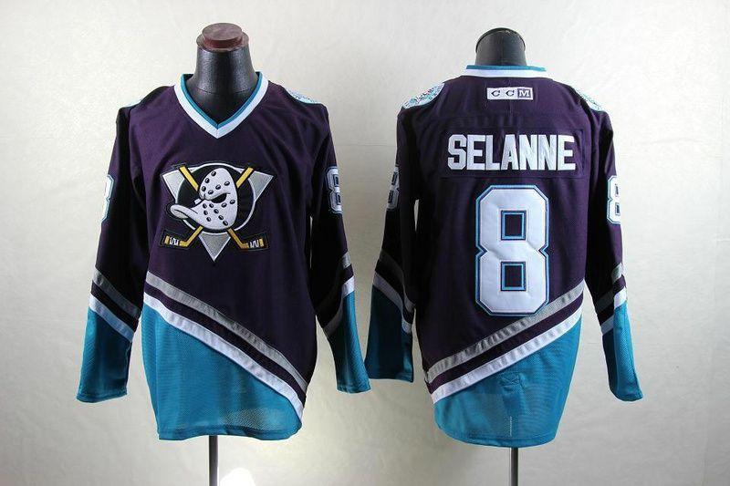 a2ed66fc Anaheim Ducks 8 Teemu SELANNE CCM Classic Anniversary Throwback Jersey -  Purple/Turquoise [Anaheim