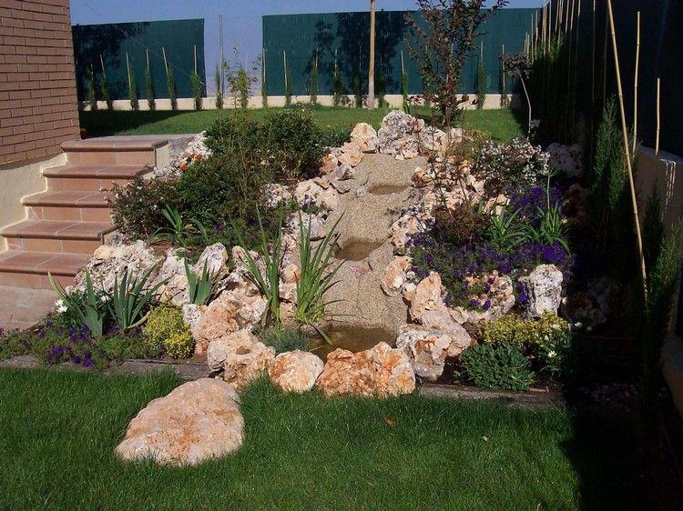 steingarten anlegen hanglage-pflanzen-lila-bluehender-bodendecker, Garten und erstellen