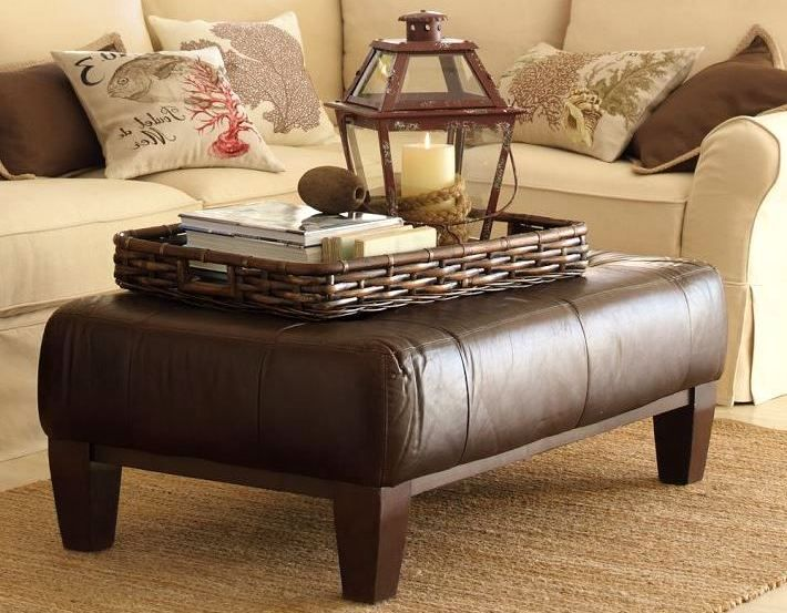 Leather Ottoman Coffee Table With Tray Leather Ottoman Coffee