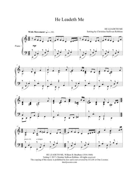 He Leadeth Me - Solo Piano Sheet Music Arrangement. Inspire ...