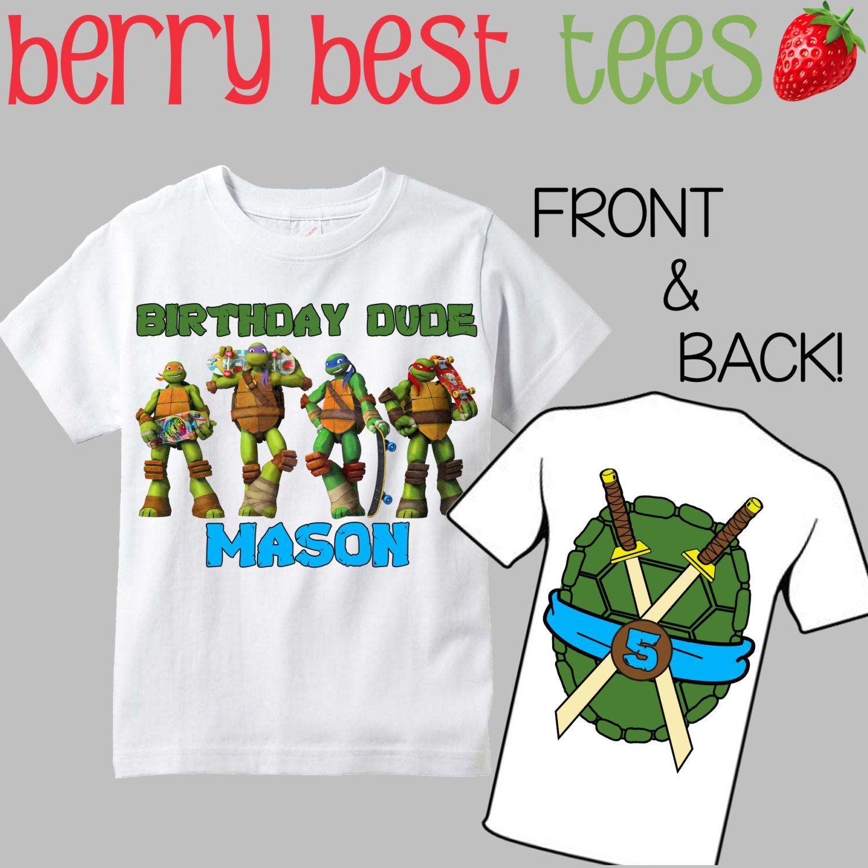 4d41bb57ba Esta camiseta de cumpleaños TMNT hará la baya mejor cumpleaños de su hijo!  Es personalizado con nombre y edad para hacer su día más especial de su  hijo!