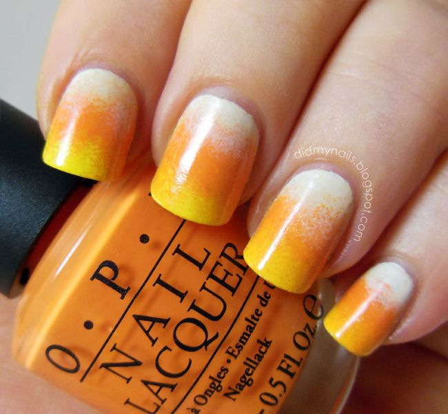 Halloween nail art, candy corn gradient nails with OPI My Boyfriend Scales Walls, Need Sunglasses?, and In My Back Pocket #candy #trickortreat