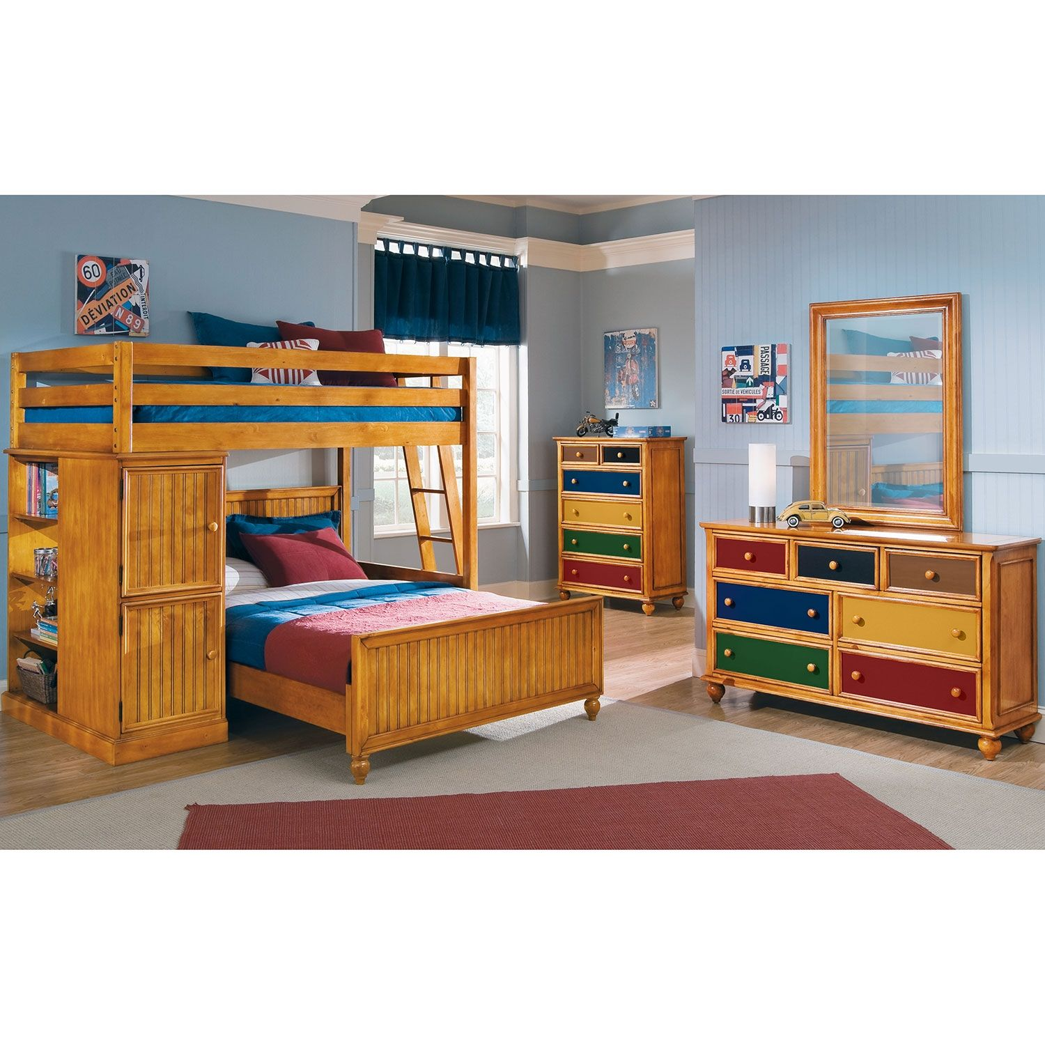 colorworks pine ii loft bed with full bed value city furniture