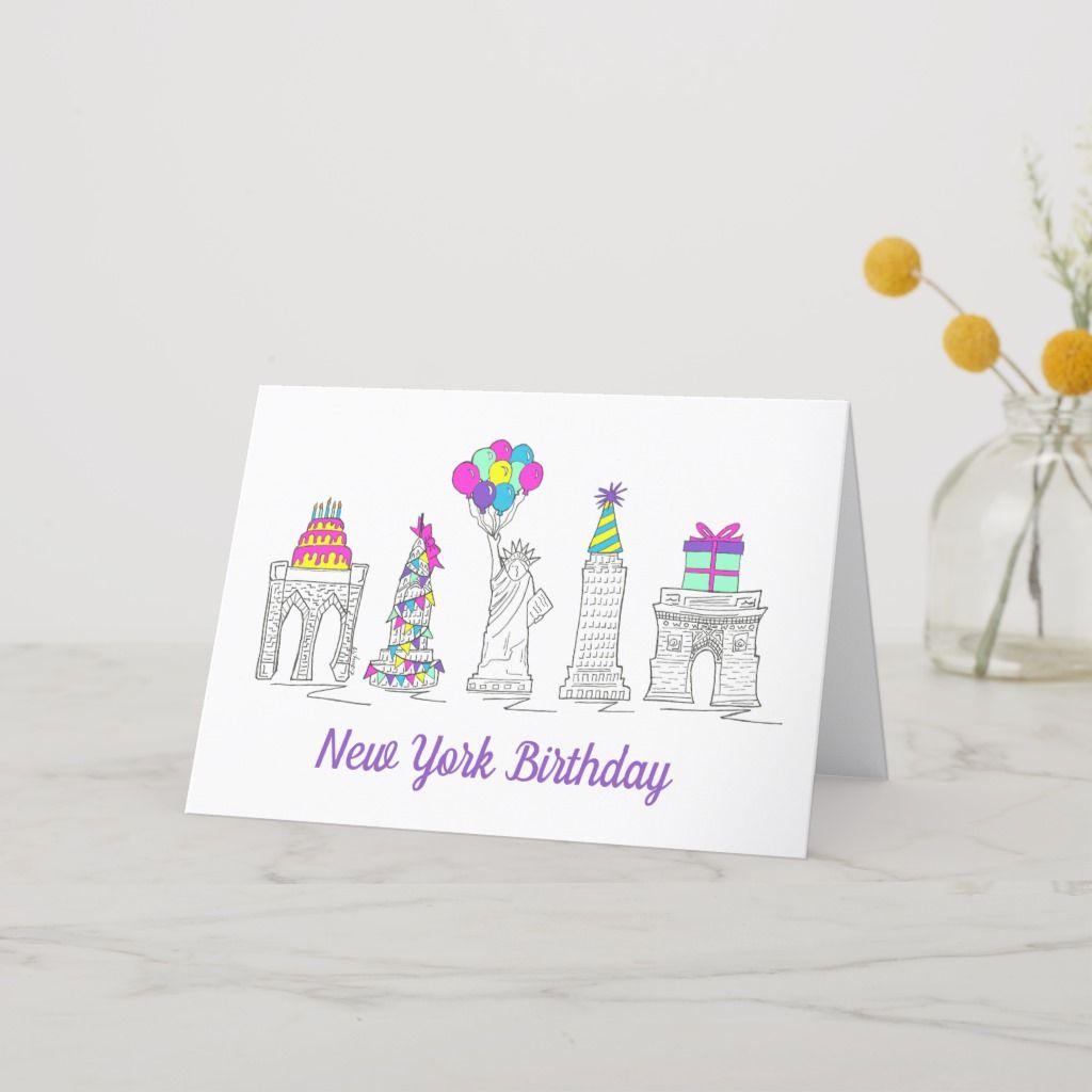 New York City Nyc Landmarks Birthday Party Card Blank Holiday Cards Birthday Cards Cards