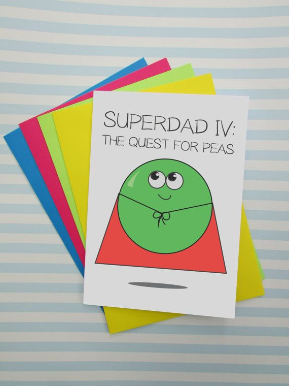 Funny Fathers Day Card Super Dad Superman Fans Pea Puns