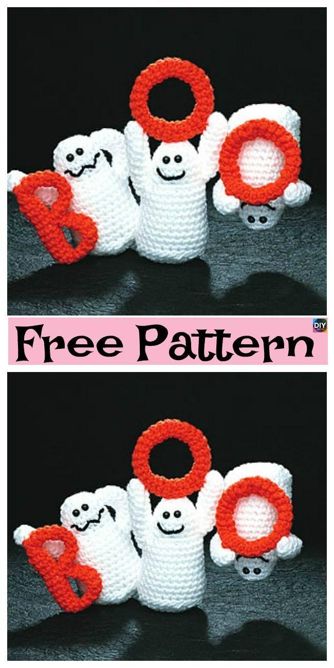 Amigurumi Halloween pattern for the Ghost, pumpkin cats and bats   1300x650