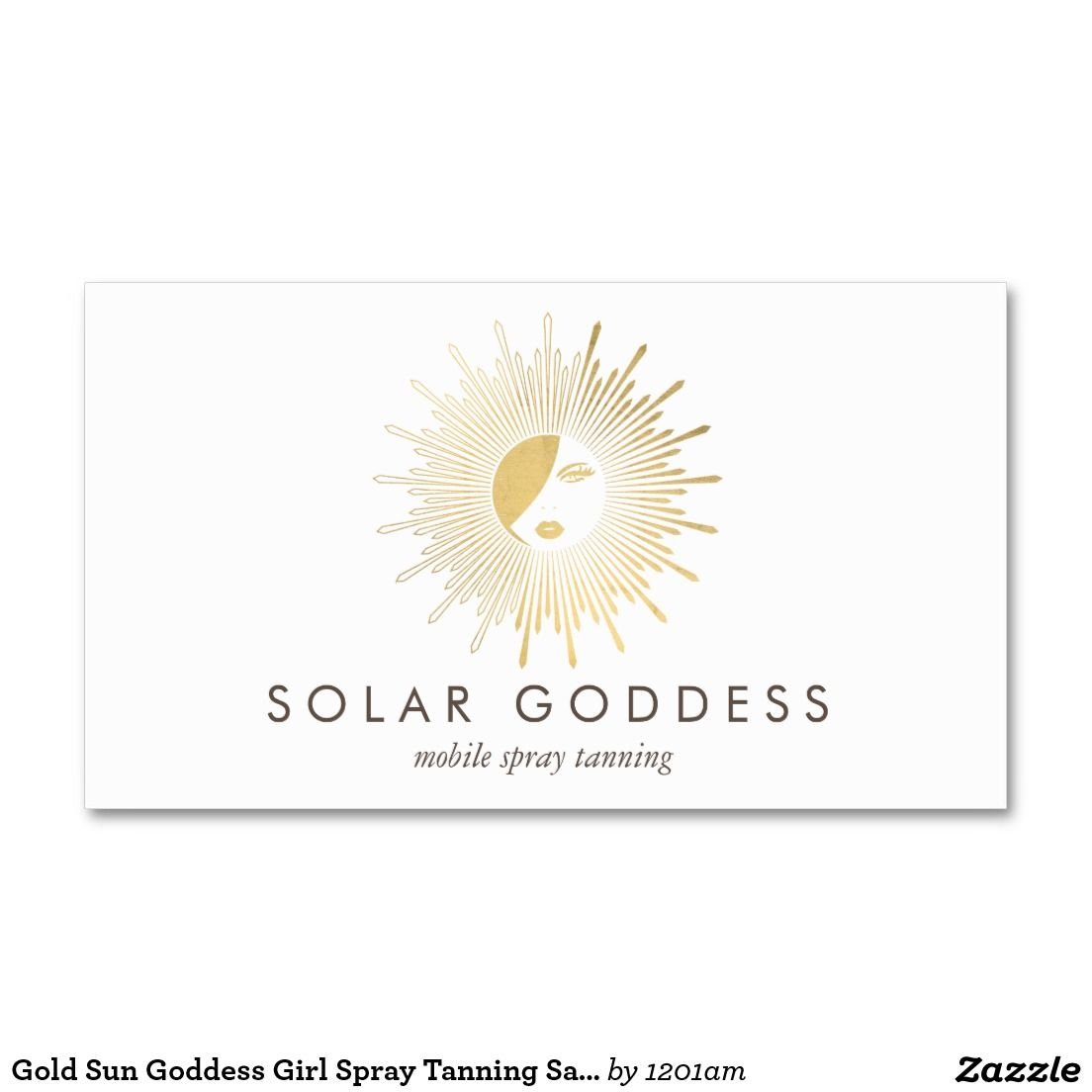 Sun Goddess Girl Logo Spray Tanning Salon Business Card | Salon logo ...