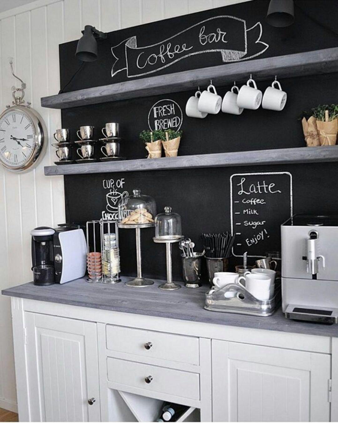 Elegant Home Coffee Bar Design And Decor Ideas 14620
