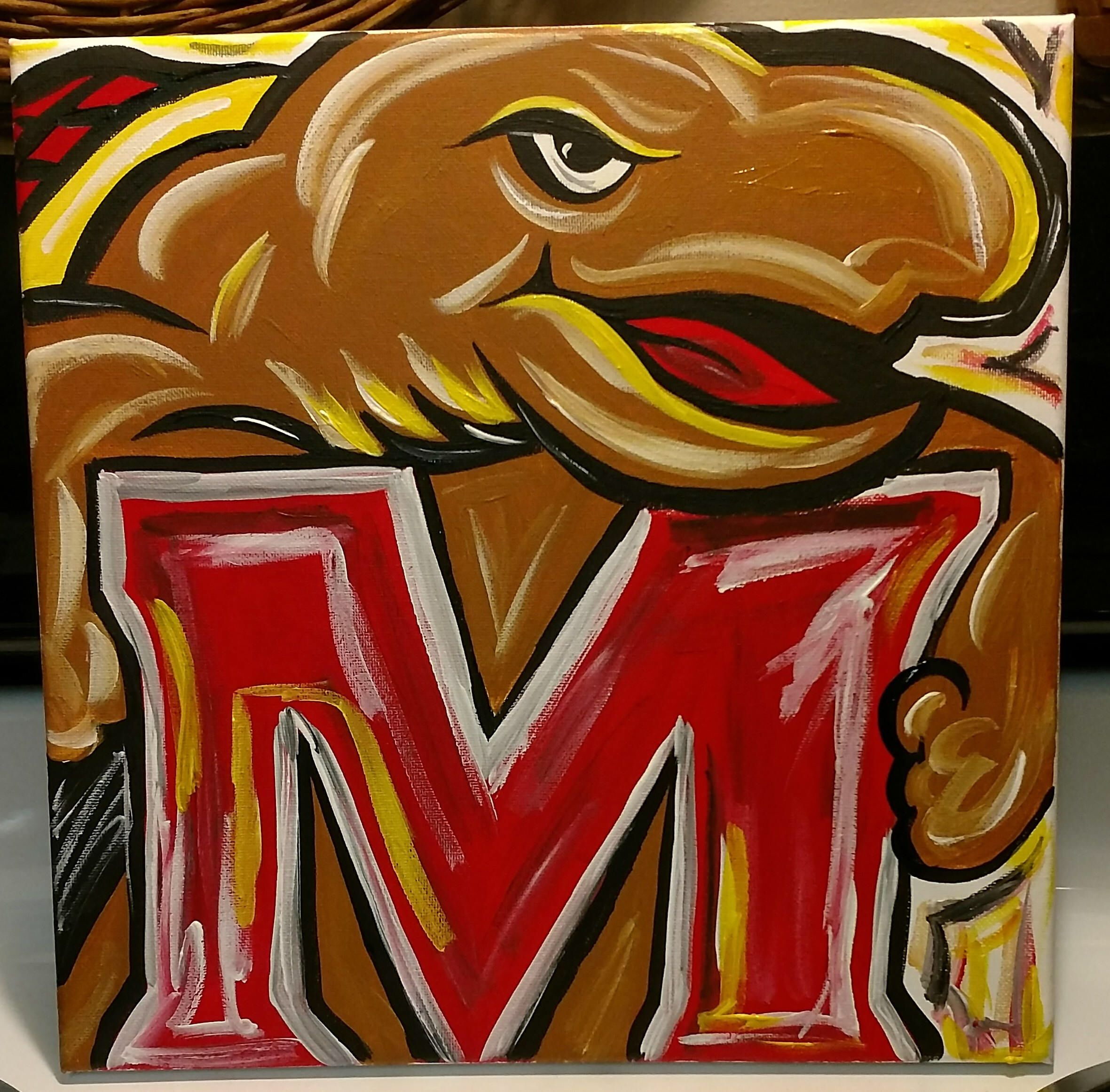 A Personal Favorite From My Etsy Shop Https Www Etsy Com Listing 572043679 Um University Of Maryland Terps Abstract Art Painting Art Abstract