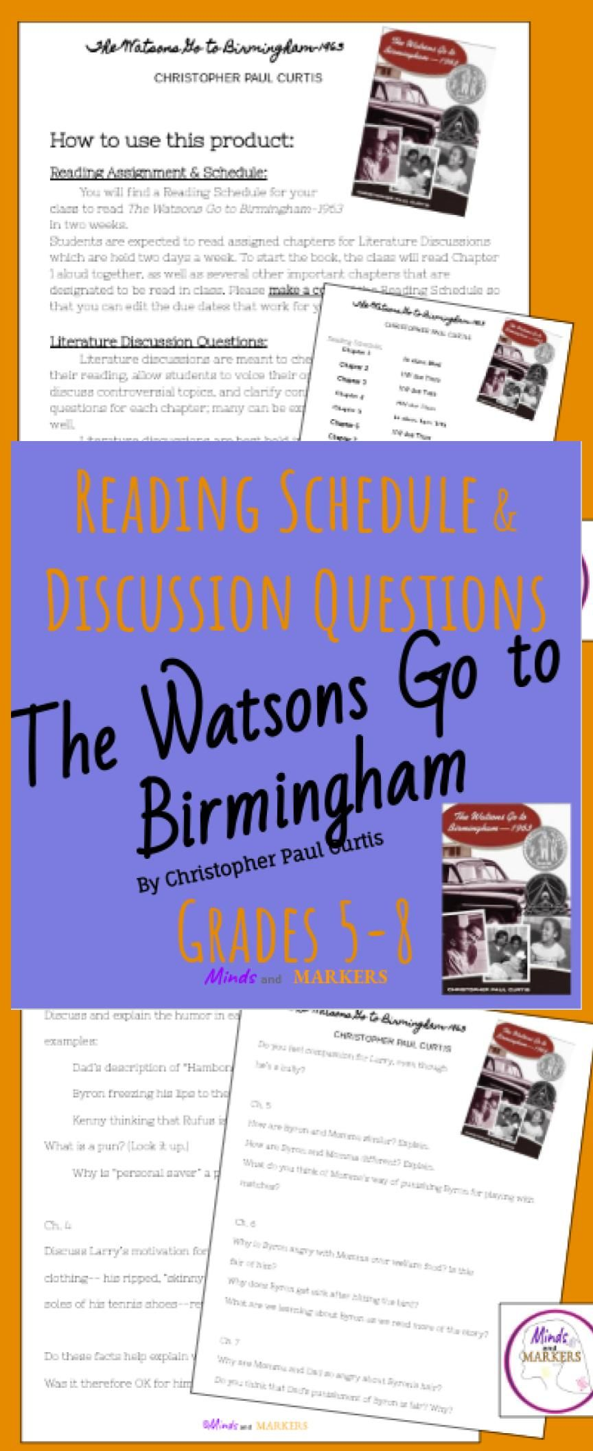 The Watsons Go To Birmingham Reading Schedule Discussion