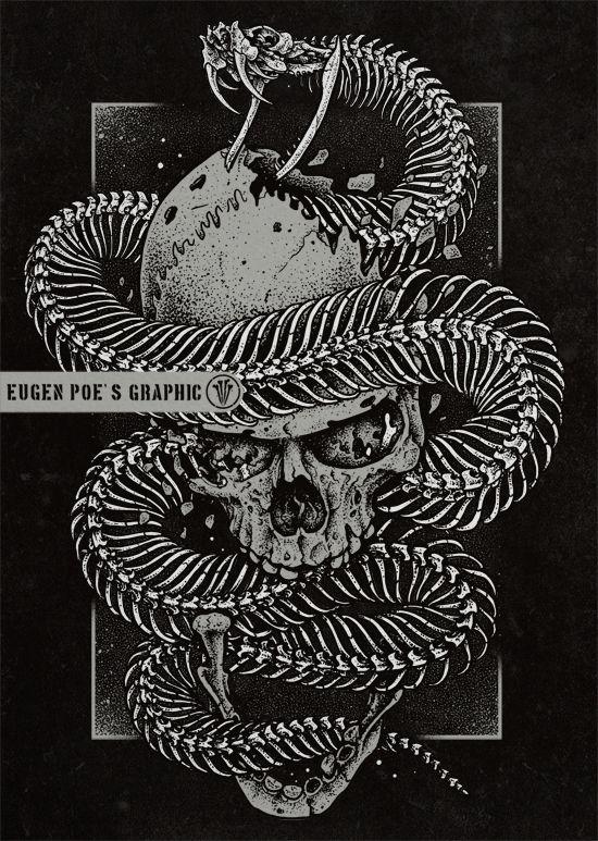 Aspid On Behance Snake Drawing Snake Art Skull Art