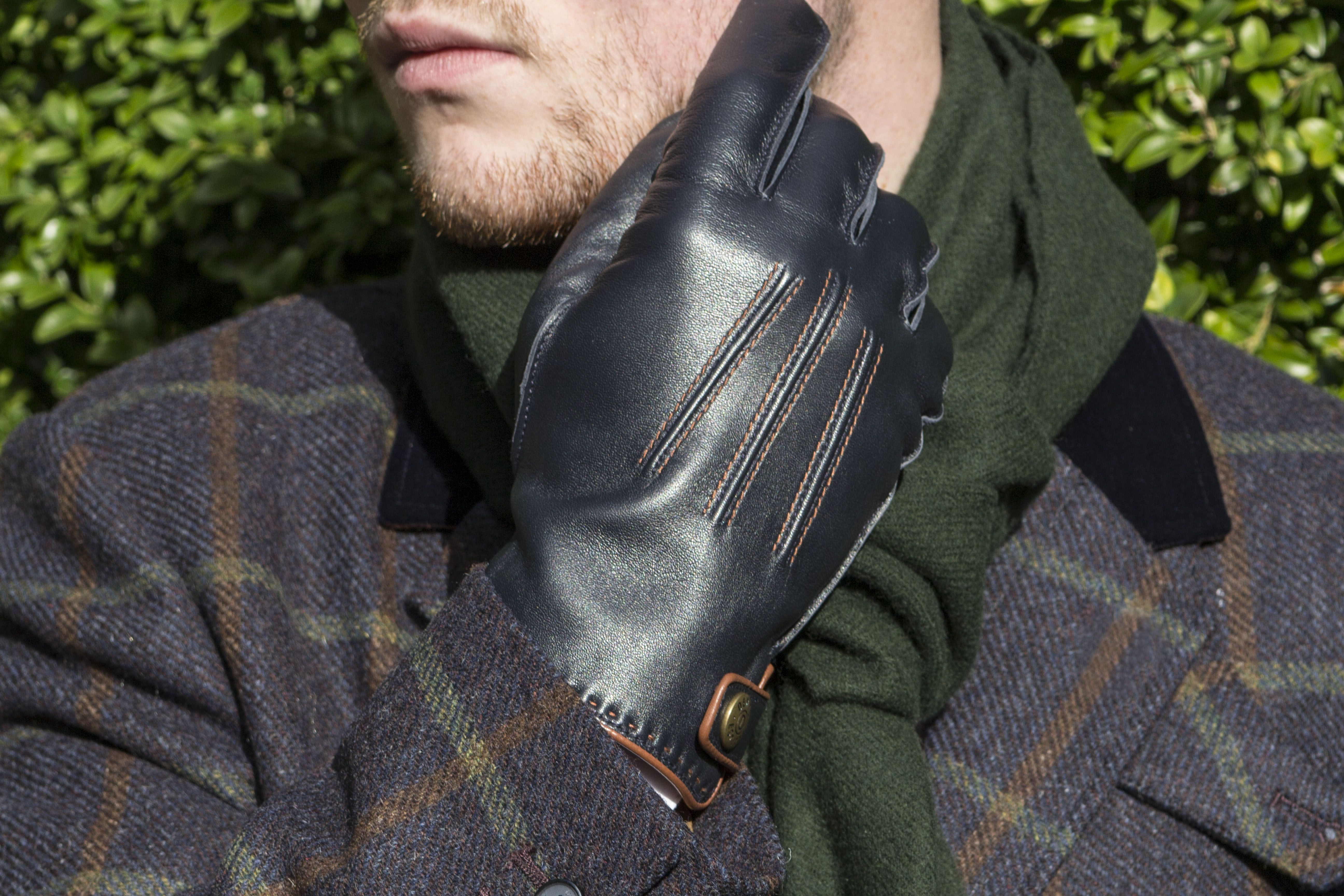 Plain leather gloves mens - Gloves 5 1525 Salisbury Lambswool Lined Hairsheep Leather Gloves In Navy