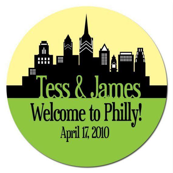 Philadelphia pa custom wedding welcome stickers skyline design