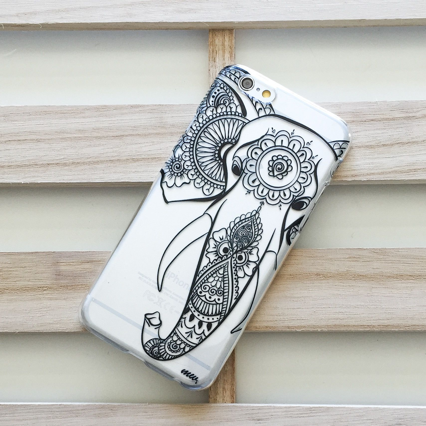 Black Tribal Elephant - Clear TPU Case Cover | phone cases ...