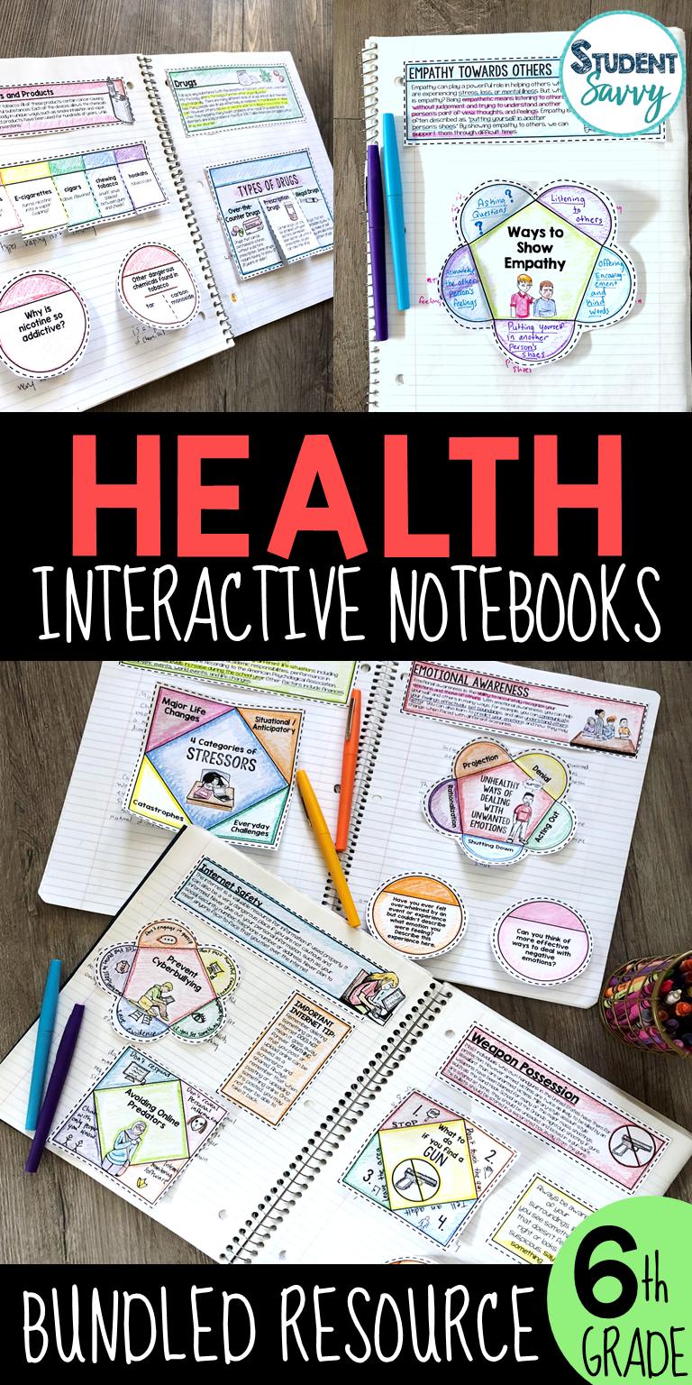 Health Interactive Notebook Bundle Middle School Health