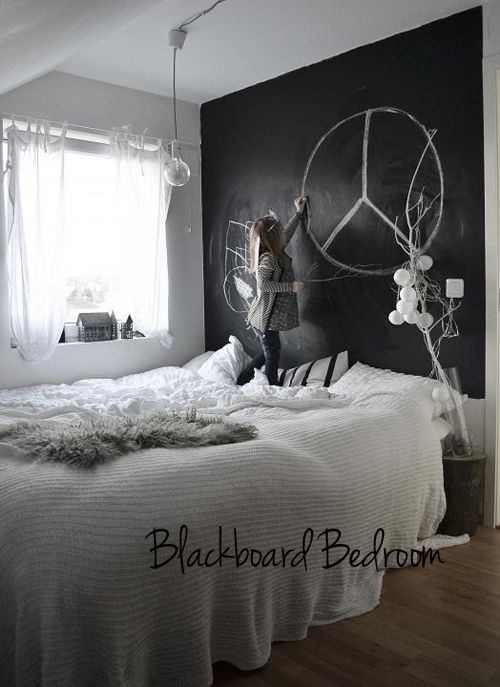 chalkboard paint wall in bedroom (doesn\'t have to be black) - you ...