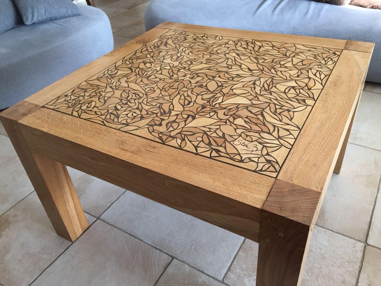 Table Basse Chene Massif Mosaique De Bois Faite Main Designee Par Sten B Coffee Table Table Decor